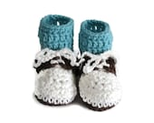Crochet Oxford Saddle Shoes Booties Made from Worsted Weight Yarn for Baby White Brown Dark Aqua Blue Socks Size 3-6 Months Infant Baby Boy