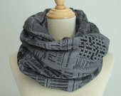 Jersey Newspaper Infinity Scarf, Made in Canada, Organic, Screen printed, London Ontario, Circle Scarf