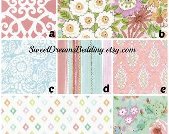 Custom Crib Bedding Coral Green Aqua Floral Damask Stripe,bumper,skirt,fitted sheet