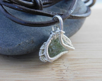 Sterling Silver Wire Wrapped Moldavite Handmade Pendant Wire Wrapped Handmade Jewelry Green Tektite Scifi Pendant