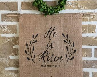 Burlap Banner | Easter Banner | He is Risen | Custom Banner | Burlap Wall Hanging | Wall Art