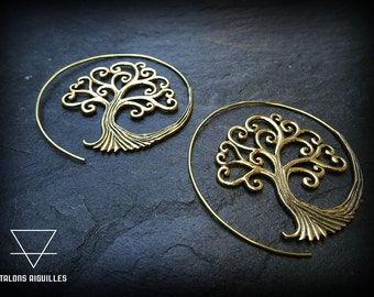 Boucles d'oreille spirale, en laiton # tree of life earrings  # tribal hoop earring # brass # boucles arbre de vie