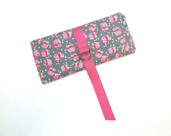 Jewelry Roll in Sweet Pink Rose Print on Grey Background