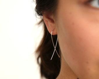 Wishbone Earrings- Hammered Hoop Earrings- Handmade Hoops- Silver Hoops- Gold Hoops- Rose Gold Hoops