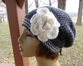 Slouchy Beanie in Dk. Grey with Antique White Trim and Detachable Flower
