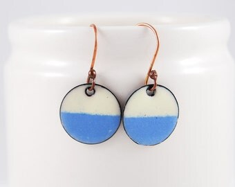 Bright Blue and Off White Enamel Dangle Circle Earrings