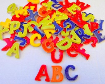 Mosaic Tiles-Alphabet tiles-2 alphabet full sets(50 tiles total)-Ceramic mosaic tiles