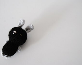 Amigurumi wee black bunny, crocheted toy