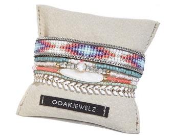 Beadweaving bracelet multistrand set - multiple strands beaded bracelet - summer bracelet set - bead loom bracelet  native american pattern