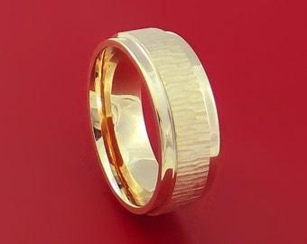14K Yellow Gold Classic Style Wedding Band Tree Bark Finish Custom Made