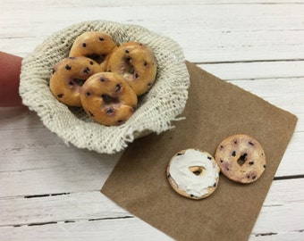Miniature Dollhouse Blueberry Bagels in a Basket with Cream Cheese in 1:12 scale
