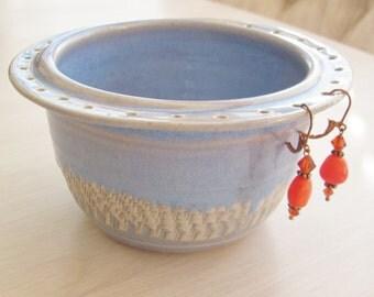 Earring Holder  Jewelry Holder Chattered Pottery in  Sky Blue Celadon Handmade Ceramics Trinket Bowl Stoneware Celadon Green  Pottery