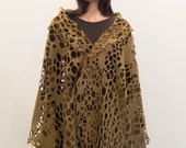 Felted khaki lace shawl net luxury all season scarf felt fabric wraps comfortable Regina Doseth handmade in Lithuania Europe XXL large
