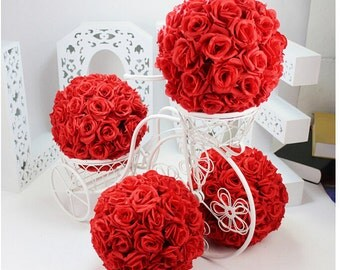15 RED ROSE FLOWER Balls Faux Pomander Roses Ball with Diamond Diamante Pins Wedding Centerpieces Floral Supplies Decor Red Rose Flowers
