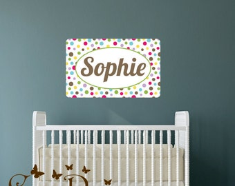 Polka dots Pattern Custom  monogram name Reusable fabric decal,  Removable, reusable and repositionable fabric wall decal