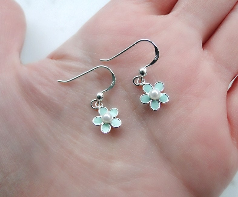 Small flower earrings silver flower earrings mint flower for Gemsprouts tiny plant jewelry