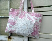 Totebag, toile printed pattern in pink over white, great market shopping bag, colorful heavy duty cotton, vintage doily cell phone pocket