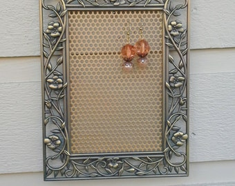 Earring Holder, vintage brass gold frame with floral and leaf detail on the outside edge, display your earrings and photos, gift idea