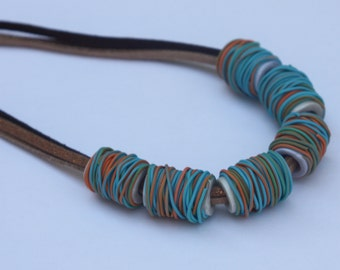 Special necklace in winter colors, polymer clay