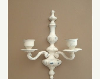 Happy 4th with 40% Off Cottage Chic Candelabra Wall Sconce / 2-Arm Candle Sconce / Heavy Painted Brass Sconce
