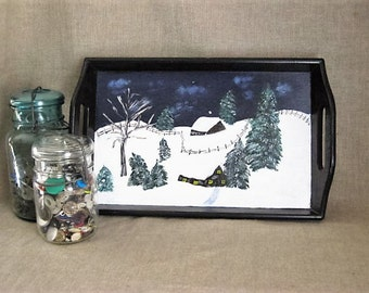 Primitive Hand-Painted Wood Tray / Hand-Painted Tray with Winter Scene
