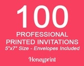 100 PRINTED INVITATIONS with Envelopes Included, Professional Press Printing