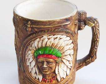 Vintage 1950's Indian/Native American Feather Headdress Head Mug- Indian Prayer