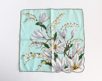 Vintage White, and Light Sky Blue Floral Handkerchief- 1950s
