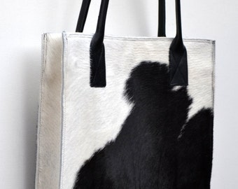 CLEARANCE SALE! Black and white four-sided hair-on cowhide tote, new and ready to ship