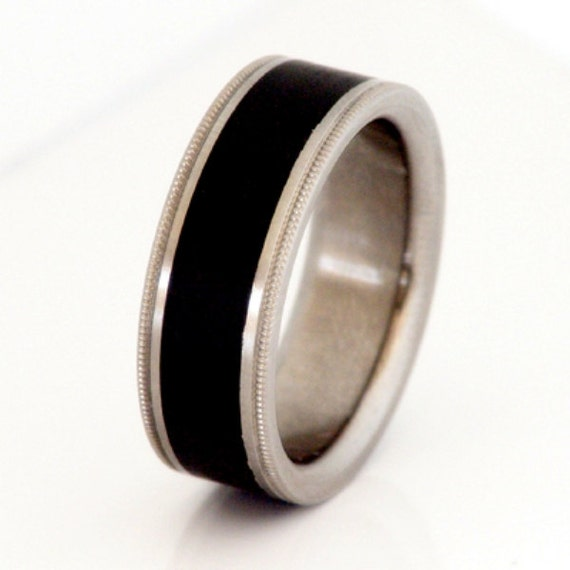 Titanium Ring With Exotic Black Ebony African Wood By Usajewelry