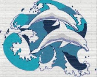 Digital PDF File Bead Stitch Patterns in Brick Peyote and Loom - Dolphins 01
