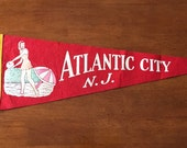 Vintage Atlantic City New Jersey Red Felt Pennant // Travel Souvenir