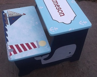 Custom,  Stool. Whales, Sailboats, Anchors, Lighthouse, Kids and Baby,  Children, Kids,  Bathroom Stool, Personalized,