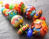 Summer Mix - Handmade Lampwork Bead Set (15) by Anne Schelling, SRA