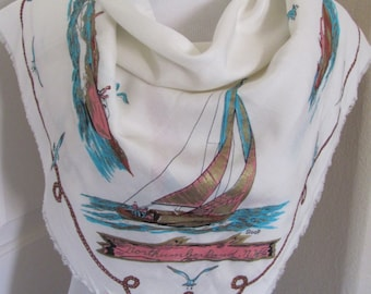 "1950s Vintage Retro White Gold Painted Sailboat Souvenir Scarf // 28"" Inch 71cm Square - Unused NOS"