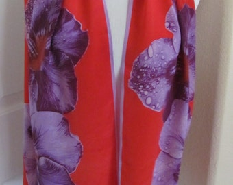 "Anne Klein // So Beautiful Red Floral Soft Silk Scarf // 15"" x 58"" Long // Best of the Best"