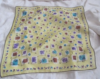 """Beautiful Antique Small Yellow Silk Scarf // 18"""" Inch 44cm Square (#21)"""