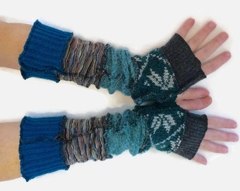 Upcycled Fingerless Gloves  Teal Blue Grey Armwarmers Recycled Wrist warmers Stripe Knit Fingerless Mittens fashion accessories gift for her