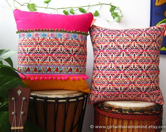 """Boho Pillows Pink Set of 2 - Geometric Mexican Cushion Cover 16x16"""""""