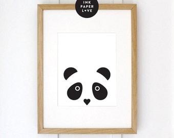 MODERN PANDA Art Print, a black & white modern design.