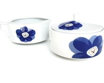 Mid Century China Sugar & Creamer Blue and White China Creamer and Sugar Bowl Indigo Moon Atomic Floral