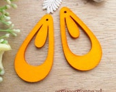 WP18 / # 2 Orange  / Wood Water Drop Pairs for Earring / Laser Cut Tear Shape Wooden Charm /Pendant /Filigree Wood Craft supplies / Handmade