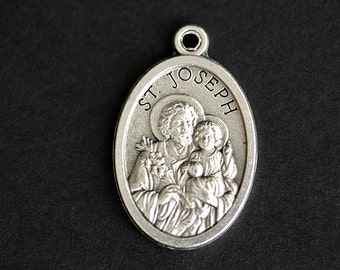 Saint Joseph Medal. Catholic Pendant. St Joseph Pendant. Saint Joseph Charm. Catholic Saint Medal. 25mm x 16mm (Qty 1)