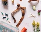 Bow Clips Fall Hair Bows , Vintage Hair Ribbon style in Palomino Leather , giddyupandgrow