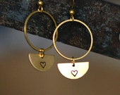 RESERVED for KATA // Pretty HEART earrings // geometric raw brass hook earrings // hand stamped jewelry