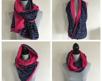 Reversible jersey snap scarf in navy/black zebra print and hot pink