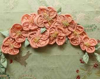 Antique huge silk ribbonwork trim coral peach pink rolled roses  stamen tiny green leaves shade french doll dress flapper trim