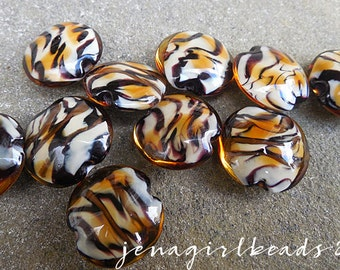 Tiger Tails Lentils Lampwork Bead