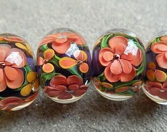 Mariposa Encased Floral Lampwork Beads
