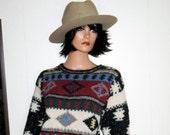 WOOLRICH CHUNKY Christmas  Wool Knit   Woodland Native American Design  Boho Hipster  Sweater Size Small Warm MINT